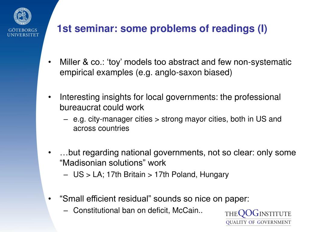 1st seminar: some problems of readings (I)