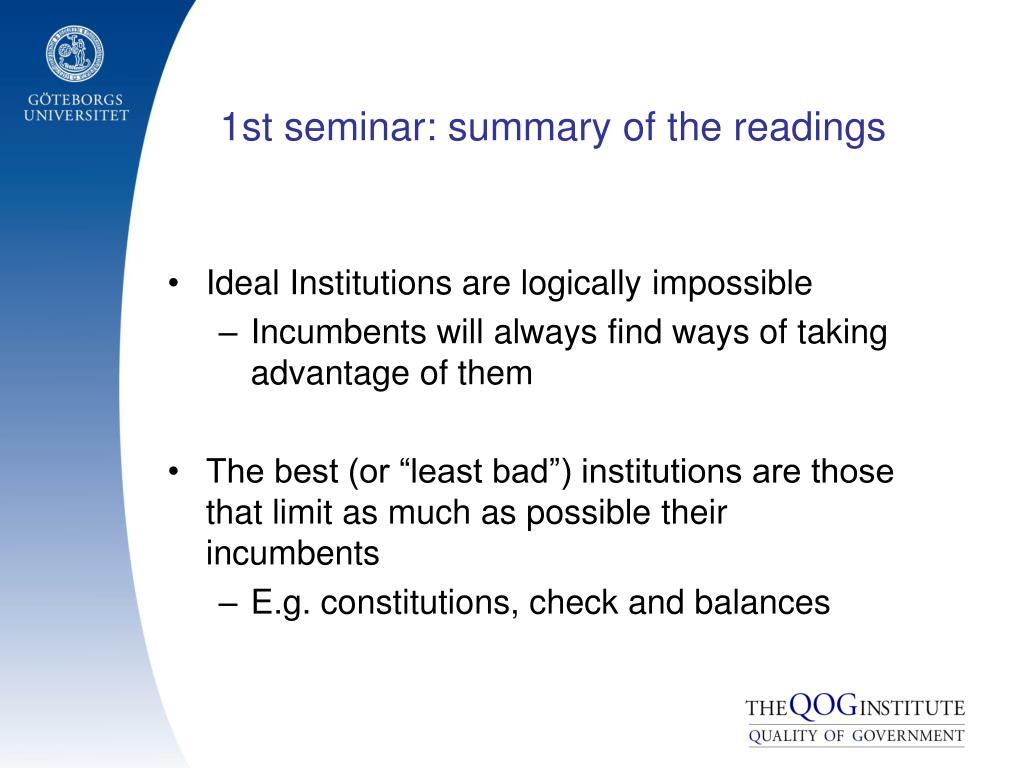 1st seminar: summary of the readings
