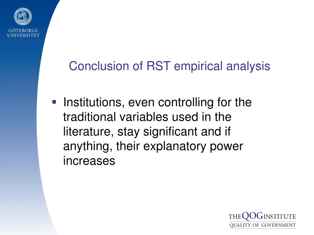 Conclusion of RST empirical analysis