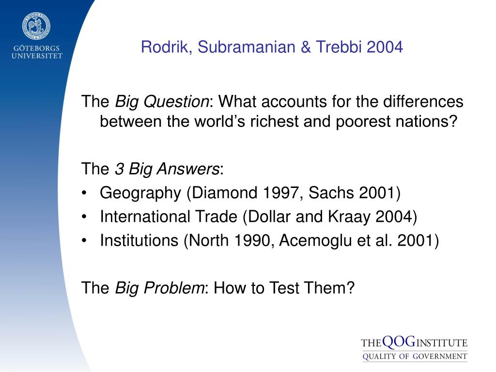 Rodrik, Subramanian & Trebbi 2004