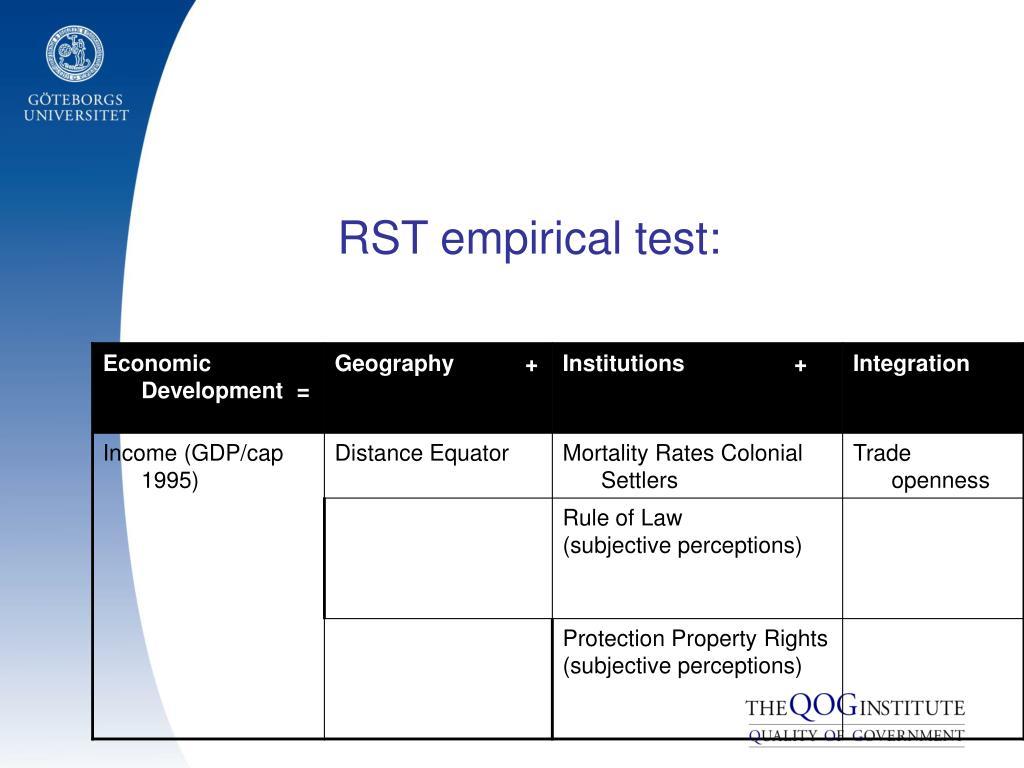 RST empirical test: