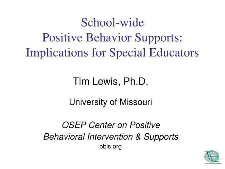 school wide positive behavior supports implications for special educators n.