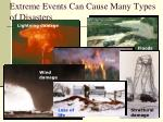 extreme events can cause many types of disasters