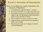 event 1 invasion of manchuria