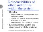responsibilities of other authorities within the system