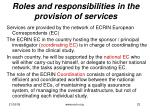 roles and responsibilities in the provision of services