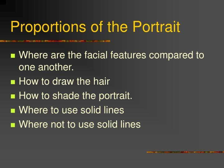 proportions of the portrait n.