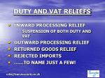 duty and vat reliefs