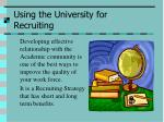 using the university for recruiting