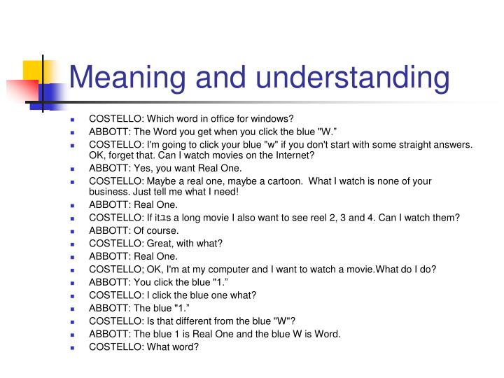 Meaning and understanding