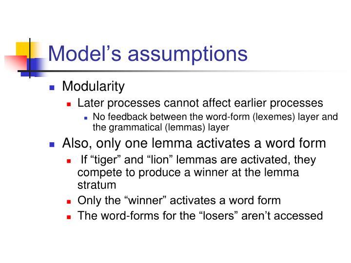 Model's assumptions