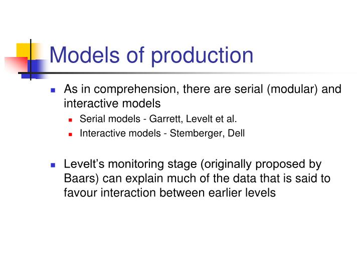 Models of production