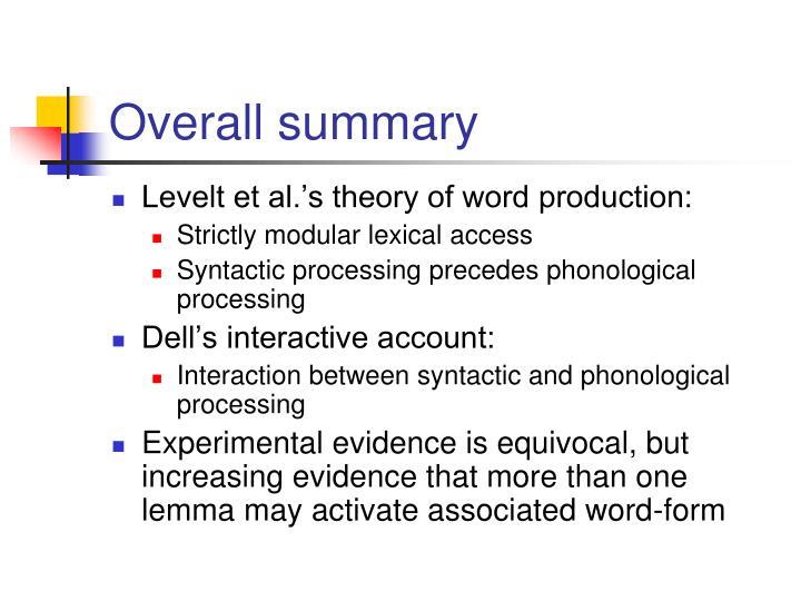 Overall summary