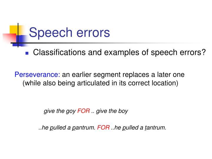 Speech errors