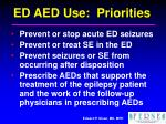 ed aed use priorities