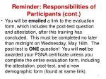 reminder responsibilities of participants cont