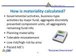 how is materiality calculated