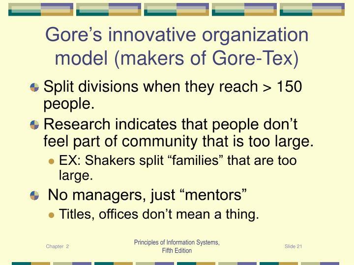Gore's innovative organization model (makers of Gore-Tex)