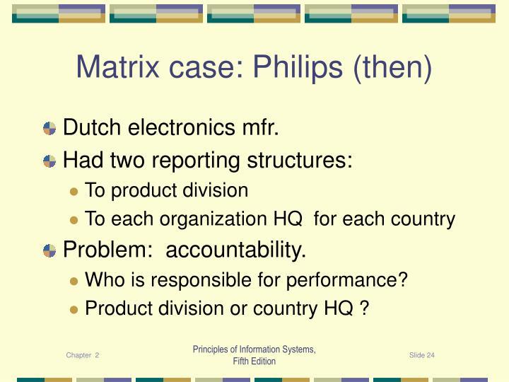 Matrix case: Philips (then)