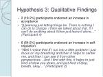 hypothesis 3 qualitative findings
