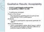 qualitative results acceptability