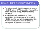 health threshold provision