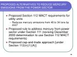 proposed alternatives to reduce mercury emissions from the power sector