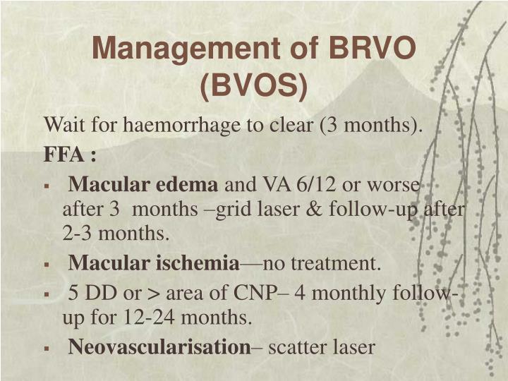 Management of BRVO
