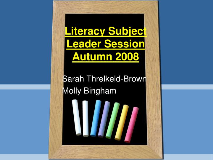 literacy subject leader session autumn 2008 n.