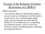 passage of the religious freedom restoration act rfra1