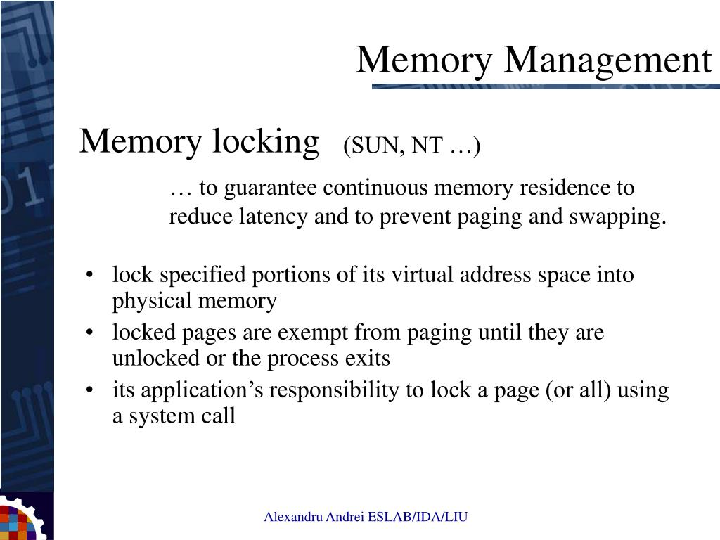 lock specified portions of its virtual address space into physical memory