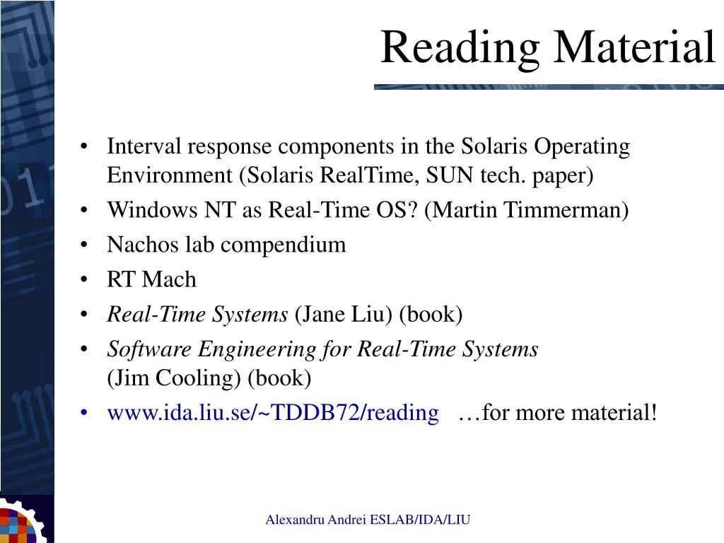 Interval response components in the Solaris Operating Environment (Solaris RealTime, SUN tech. paper)