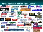 strong relationships with fleets owners