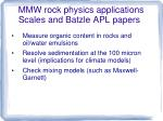 mmw rock physics applications scales and batzle apl papers