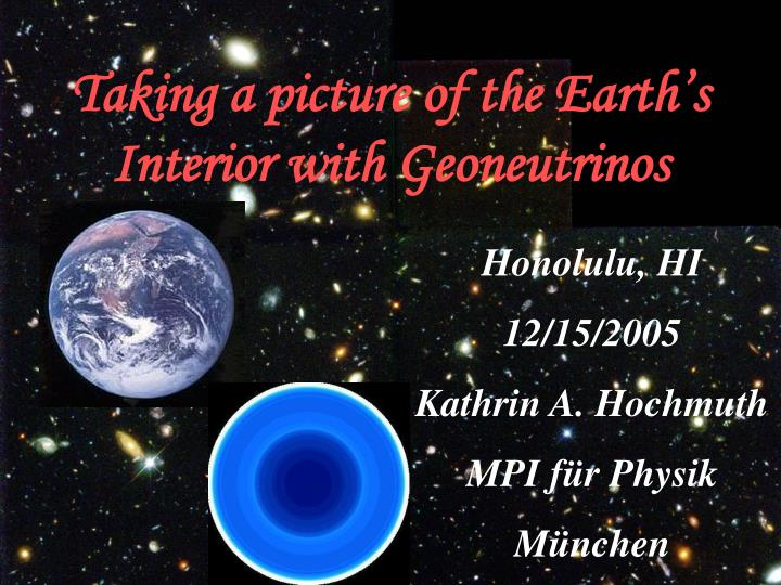 taking a picture of the earth s interior with geoneutrinos n.