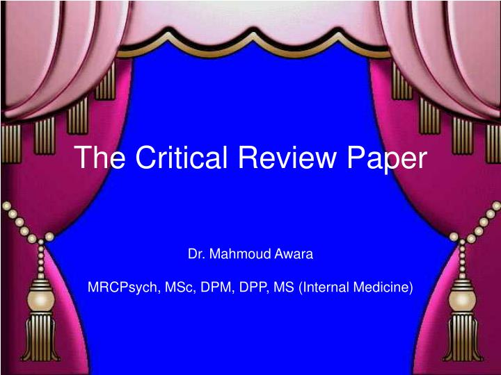 the critical review paper n.