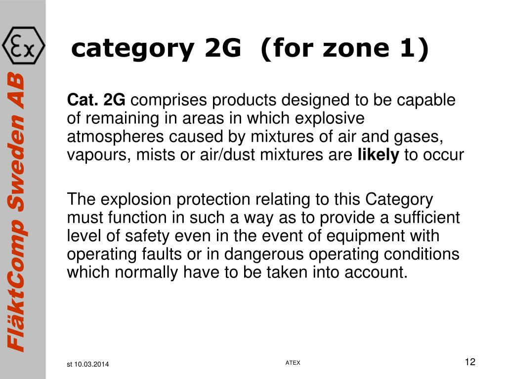 category 2G  (for zone 1)