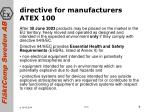 directive for manufacturers atex 100