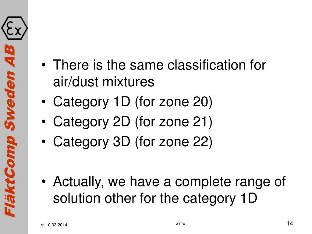 There is the same classification for air/dust mixtures