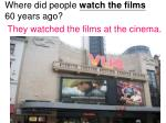where did people watch the films 60 years ago