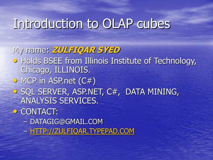introduction to olap cubes n.