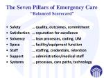 the seven pillars of emergency care balanced scorecard