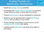 guiding principles for specification development