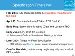 specification time line