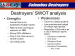 destroyers swot analysis