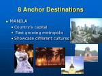 8 anchor destinations