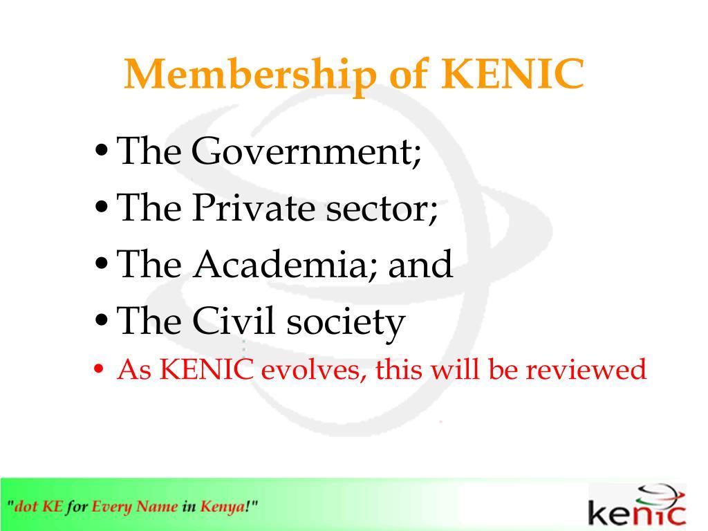 Membership of KENIC