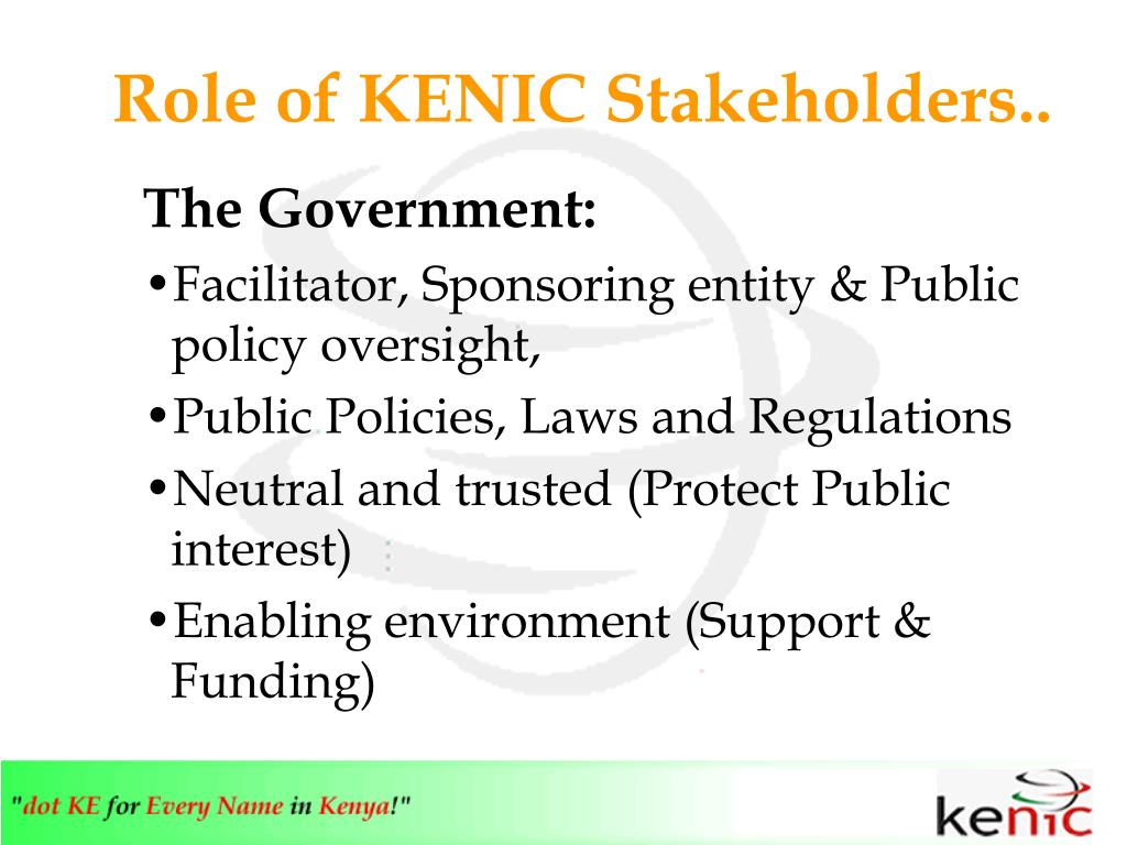 Role of KENIC Stakeholders..
