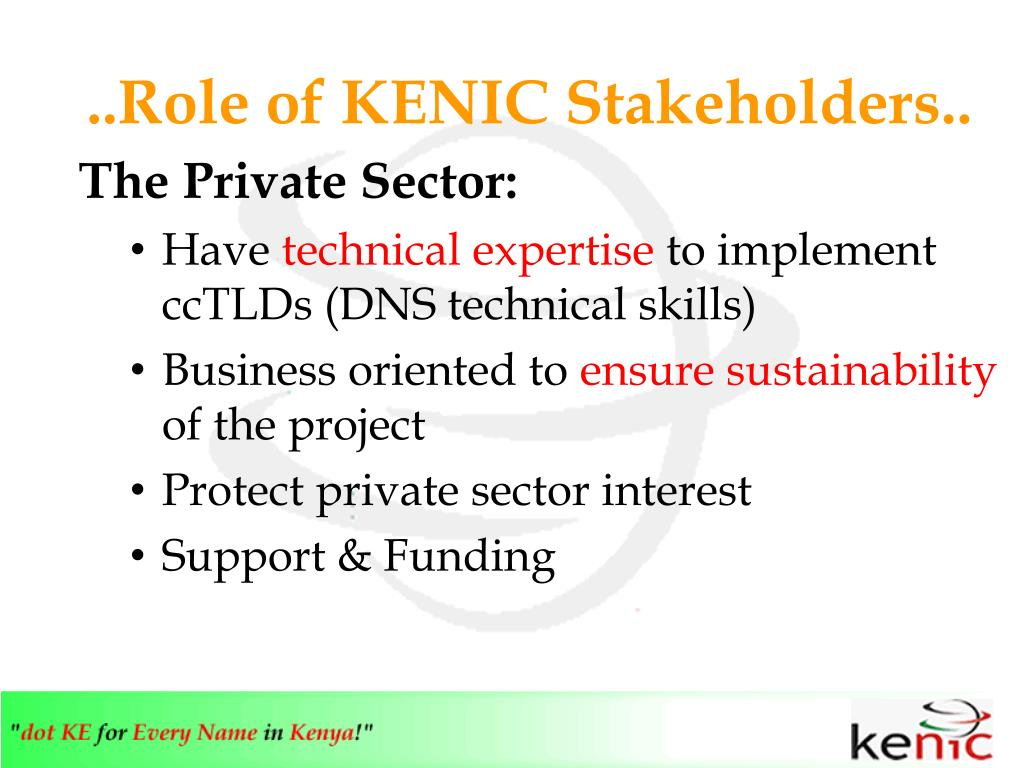 ..Role of KENIC Stakeholders..
