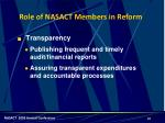 role of nasact members in reform